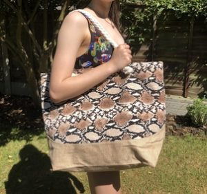 Animal print beach bag