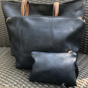 Navy And Tan Three In One Bag
