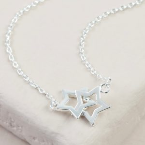 Silver Double Star Necklace