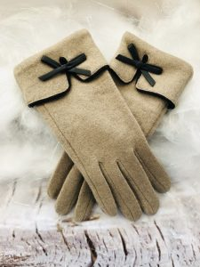 Beige Touchscreen Gloves With Bow Detail