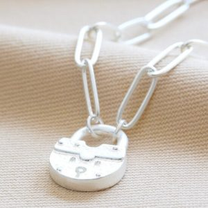 Silver padlock necklace 1