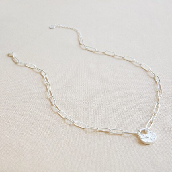 Silver padlock necklace 2