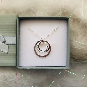 Silver Mixed Ring Necklace